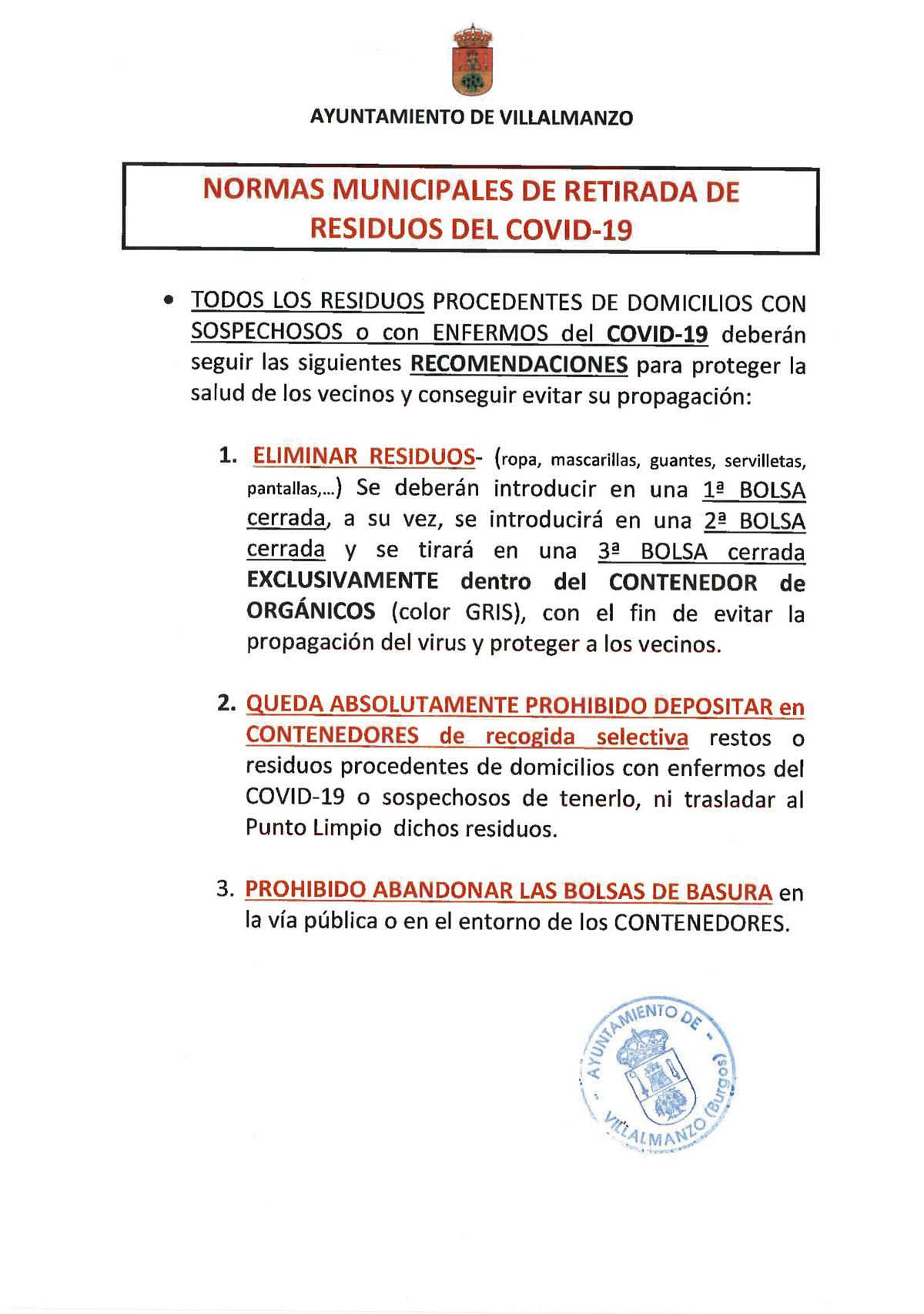 NORMAS MUNICIPALES DE RETIRADA DE RESIDUOS DEL COVID-19